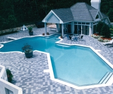 Geometric Pool with Slide and Pavers