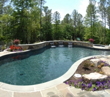 Freeform pool with raised wall and pool landscaping